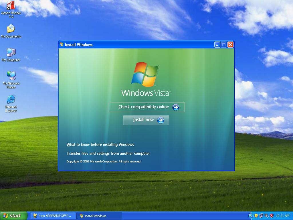 Upgrading windows xp to windows vista a for Windows windows