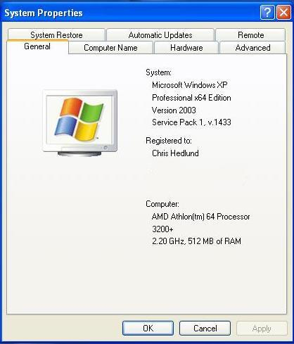 xp professional 64 bit