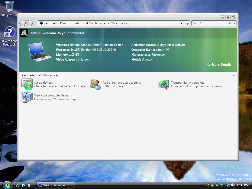 ActiveWin com: Windows Vista February 2006 CTP Build 5308 Screenshots